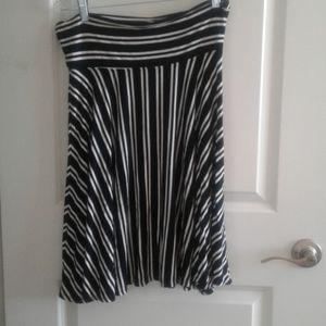 Max Studio Striped Flare Skirt